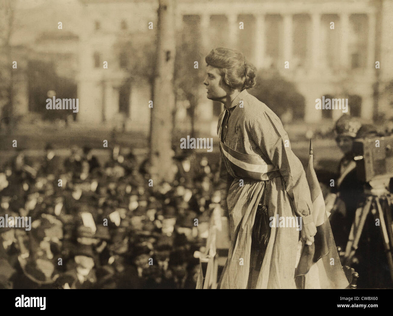 Suffragist Lucy Branham speaking at outdoor meeting during the militant National Women's Party 'Prison Special' tour in Feb-Mar Stock Photo