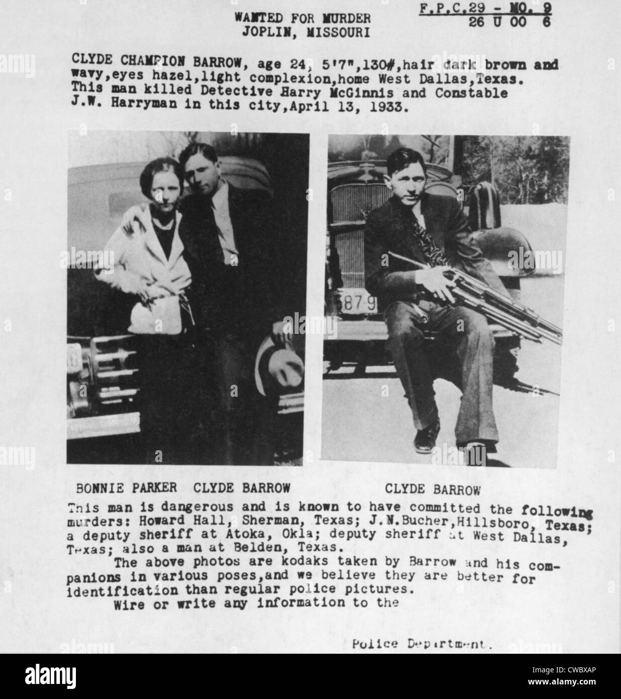 A wanted poster for Bonnie and Clyde used personal photos lawmen found in one of their deserted hideouts. 1933. - Stock Image