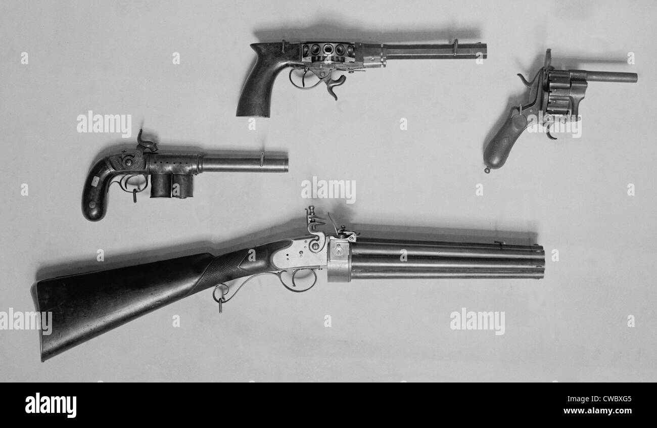 Historical Revolvers. Photo ca. 1910. - Stock Image