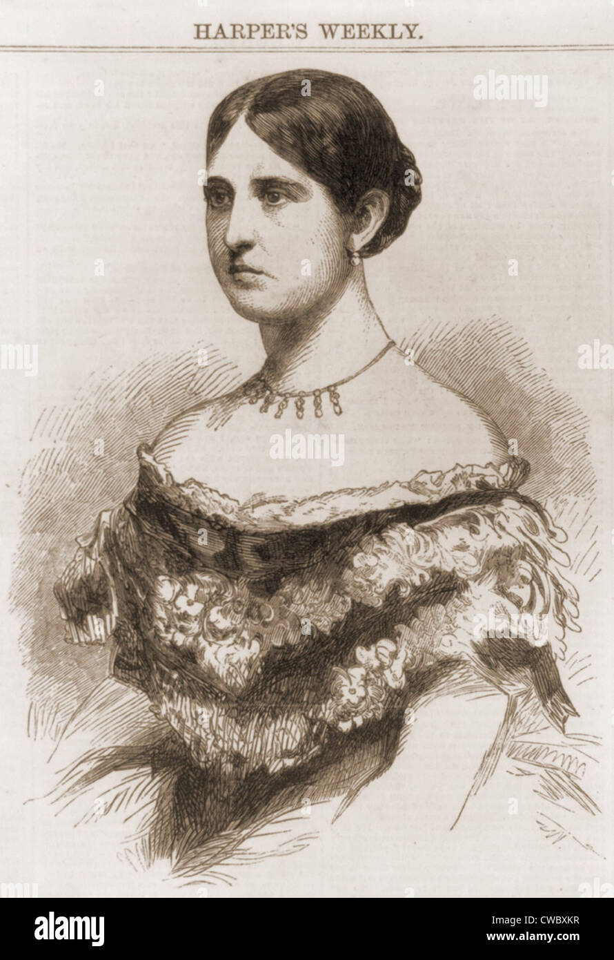 Teresa Bagioli Sickles' (1836–1867) infidelity with Philip Barton Key, prompted his honor killing by her husband, - Stock Image