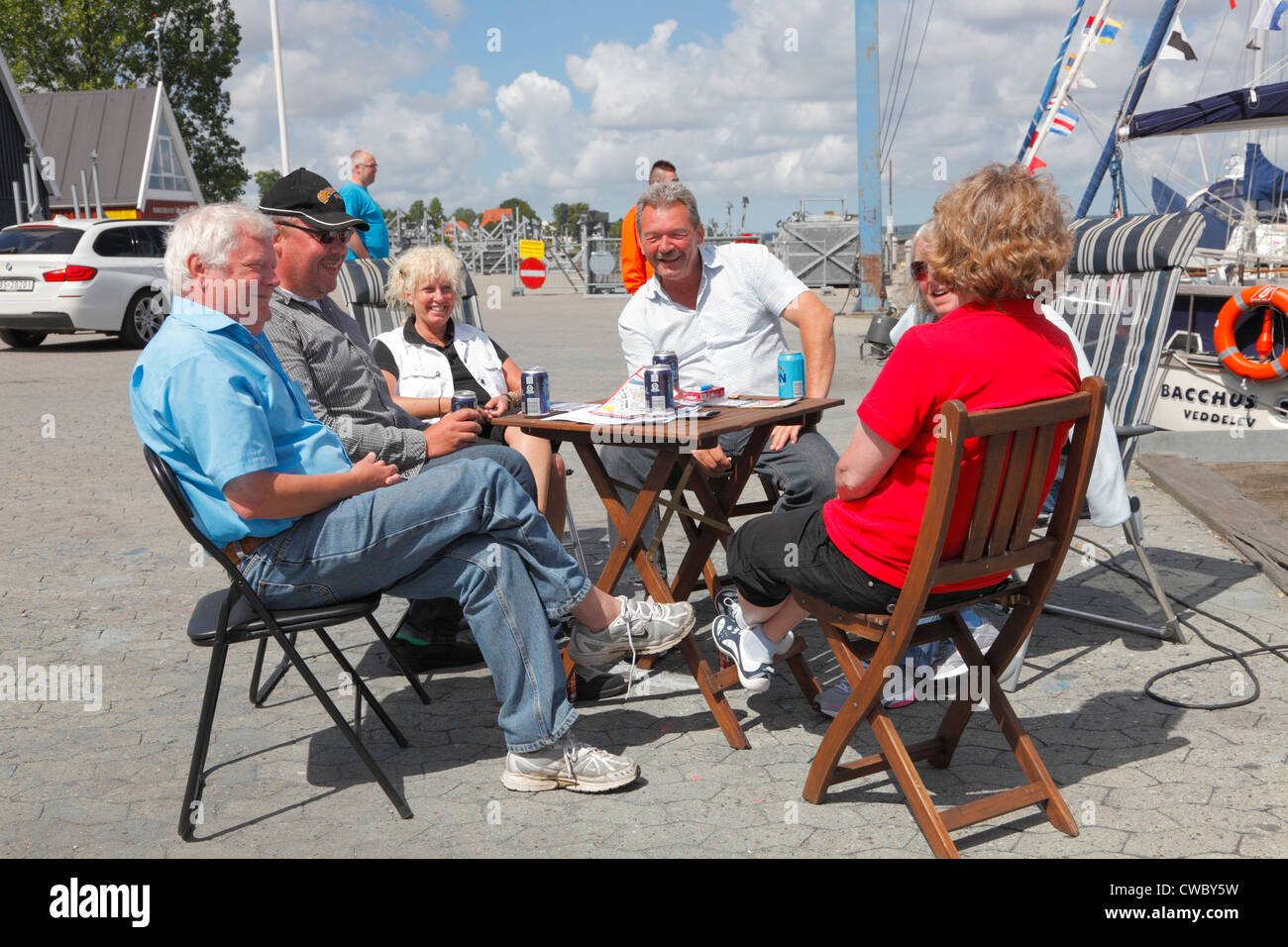 Refreshments are enjoyed on the quayside after the 'Open Boat' arrangement Saturday at the Nauticat Scandinavian - Stock Image