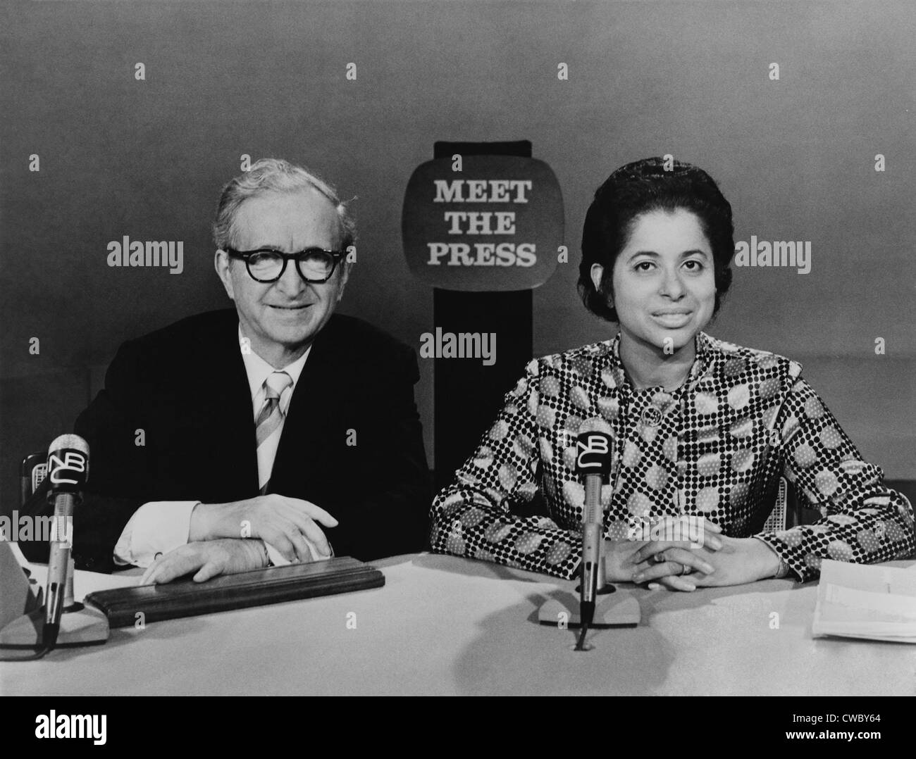 Patricia Roberts Harris (1924-1985), with Lawrence Spivak, host of the NBC's MEET THE PRESS television program - Stock Image