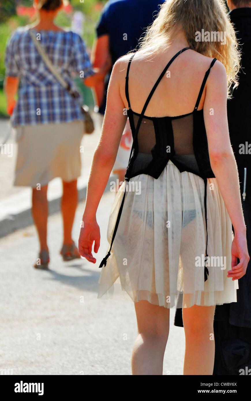 Women Fashion Skirts Outside