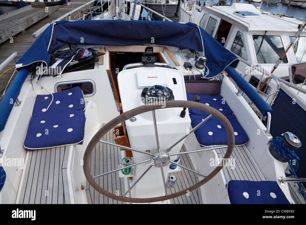 Cockpit and wheel of a typical Nauticat 38 motorsailer participating in the Scandinavian Nauticat Rally 2012 in - Stock Image