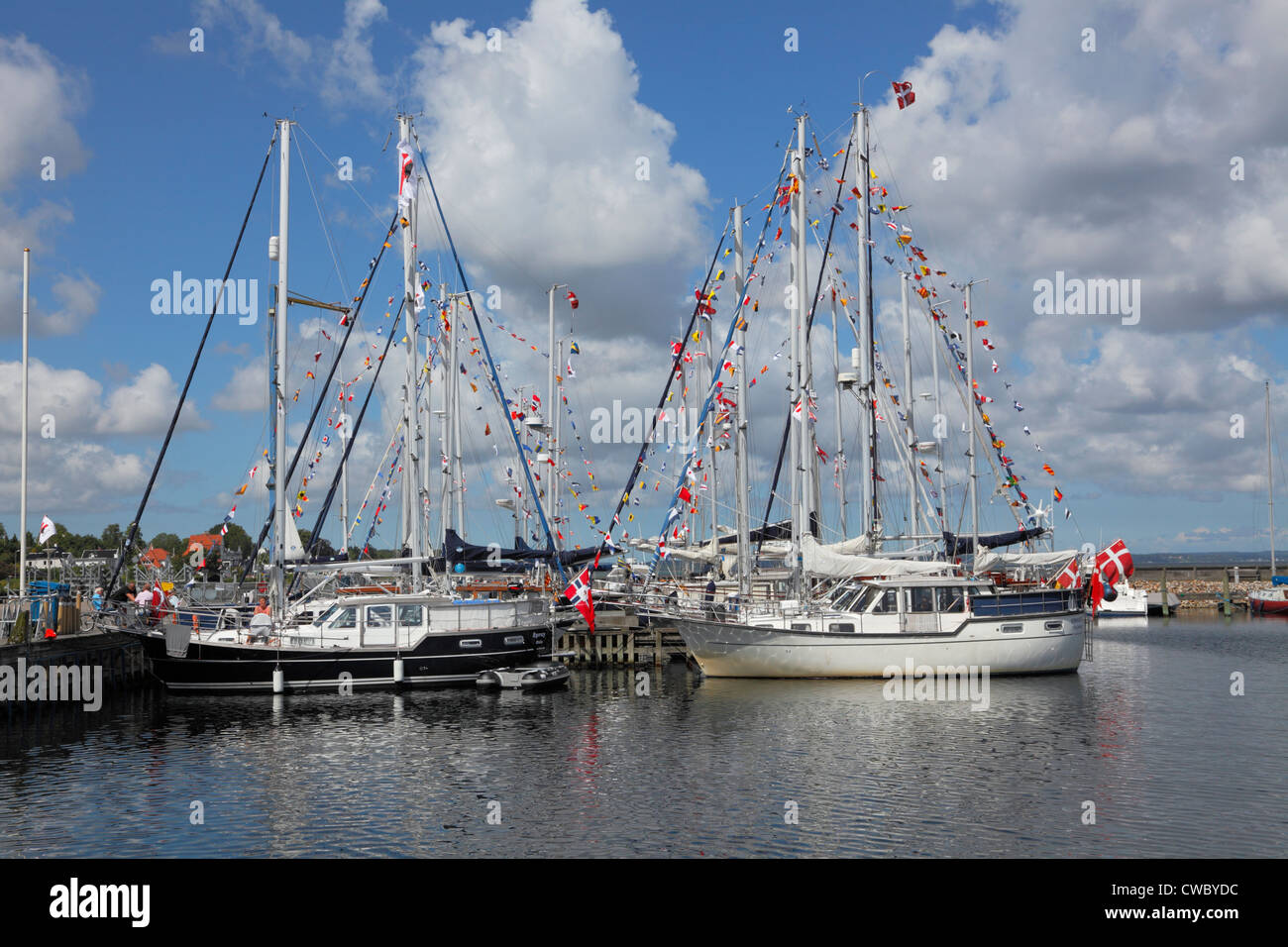 View of many of the about 30 participating Nauticat motorsailers from Scandinavia taking part in the Scandinavian - Stock Image