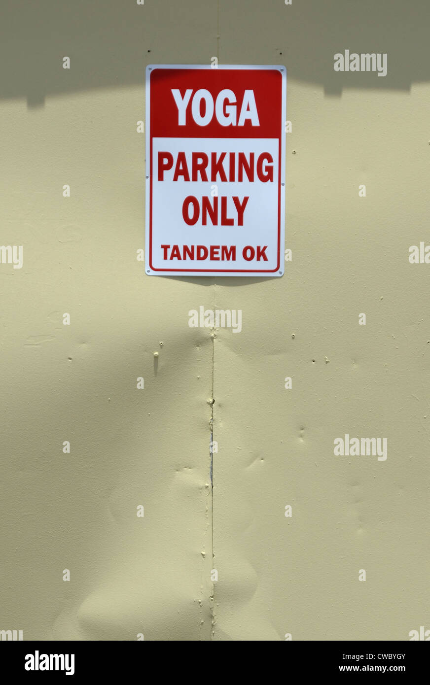 Yoga Studio Parking SIgn Stock Photo