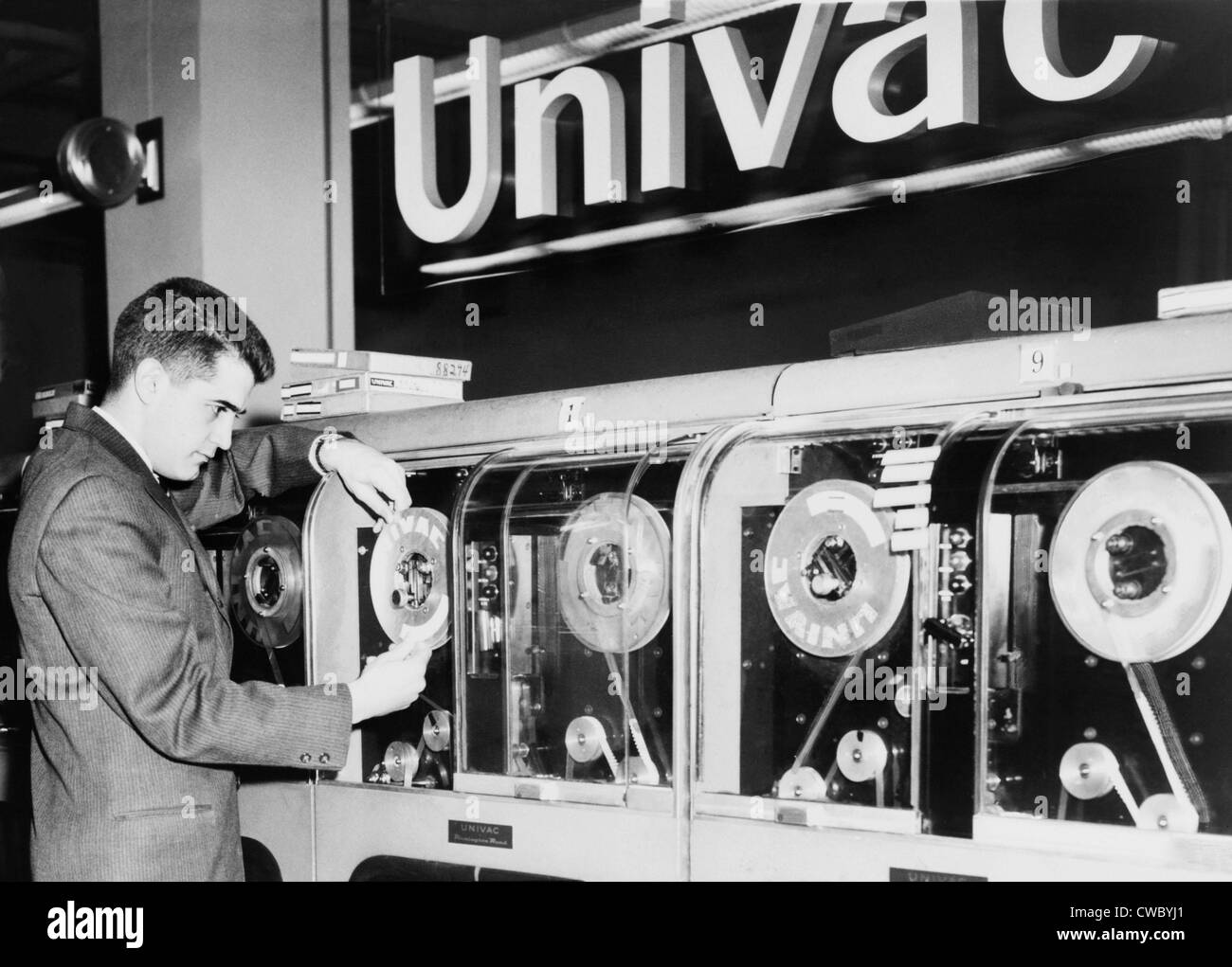 Univac was the first computer designed for commercial use and 46 were built and installed in the 1950s. Designed - Stock Image