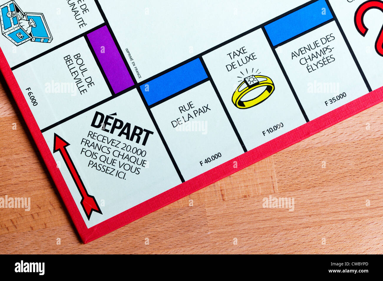 French Monopoly board showing the Go or Depart position. - Stock Image