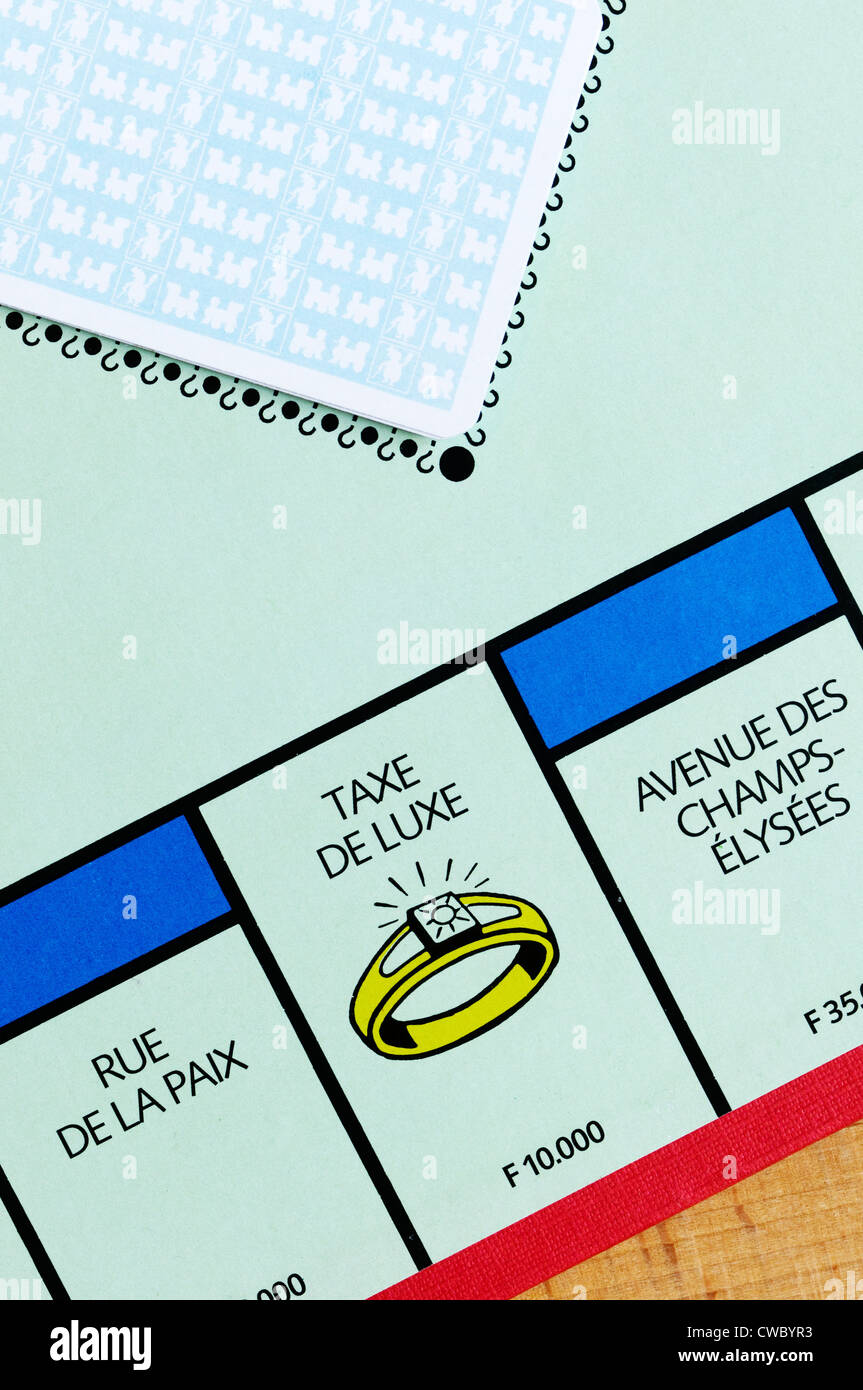 French Monopoly board showing the Taxe De Luxe position. - Stock Image