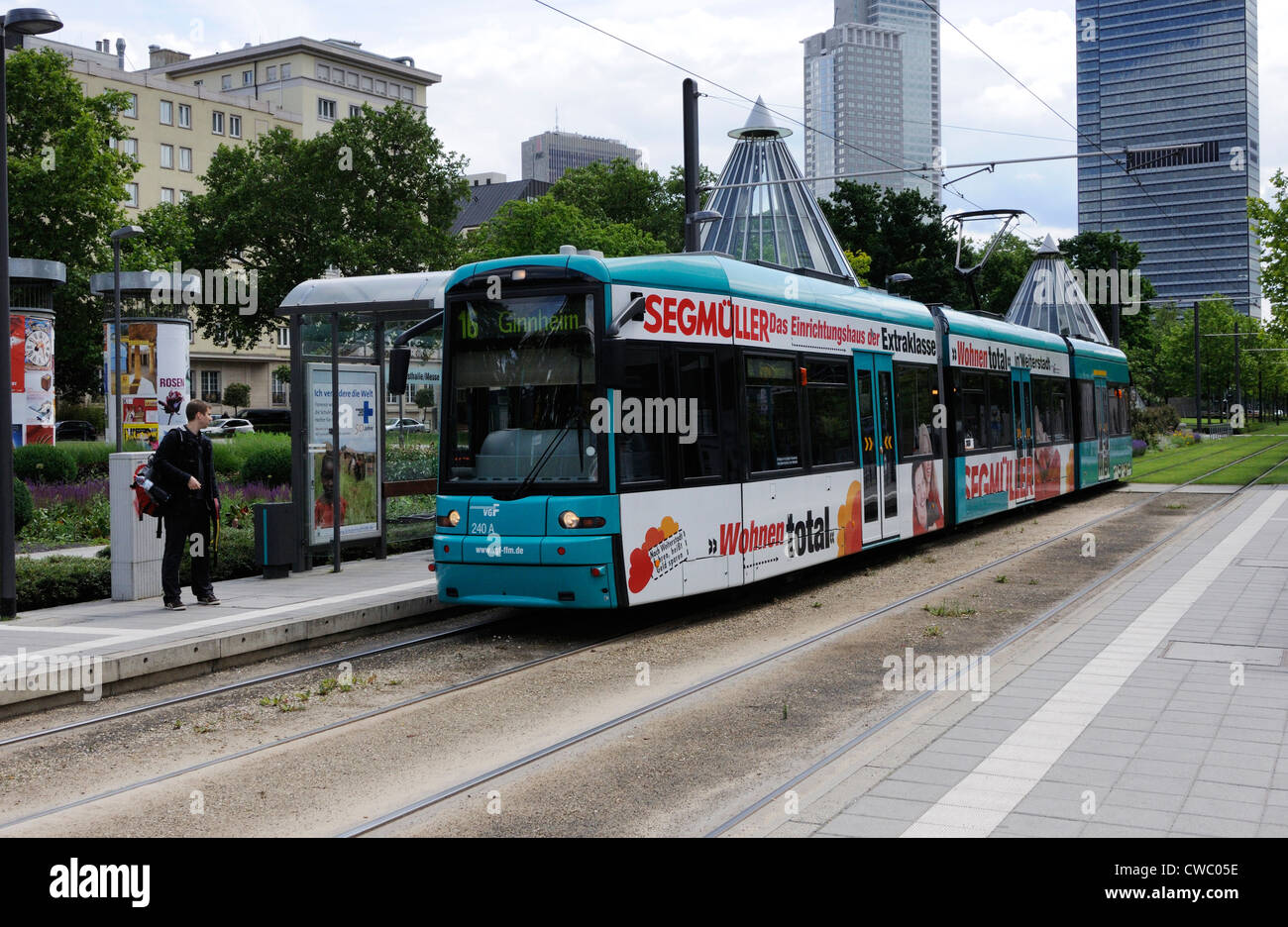 The No. 16 tram at the Festhalle/Messe stop, Frankfurt, Germany. Stock Photo