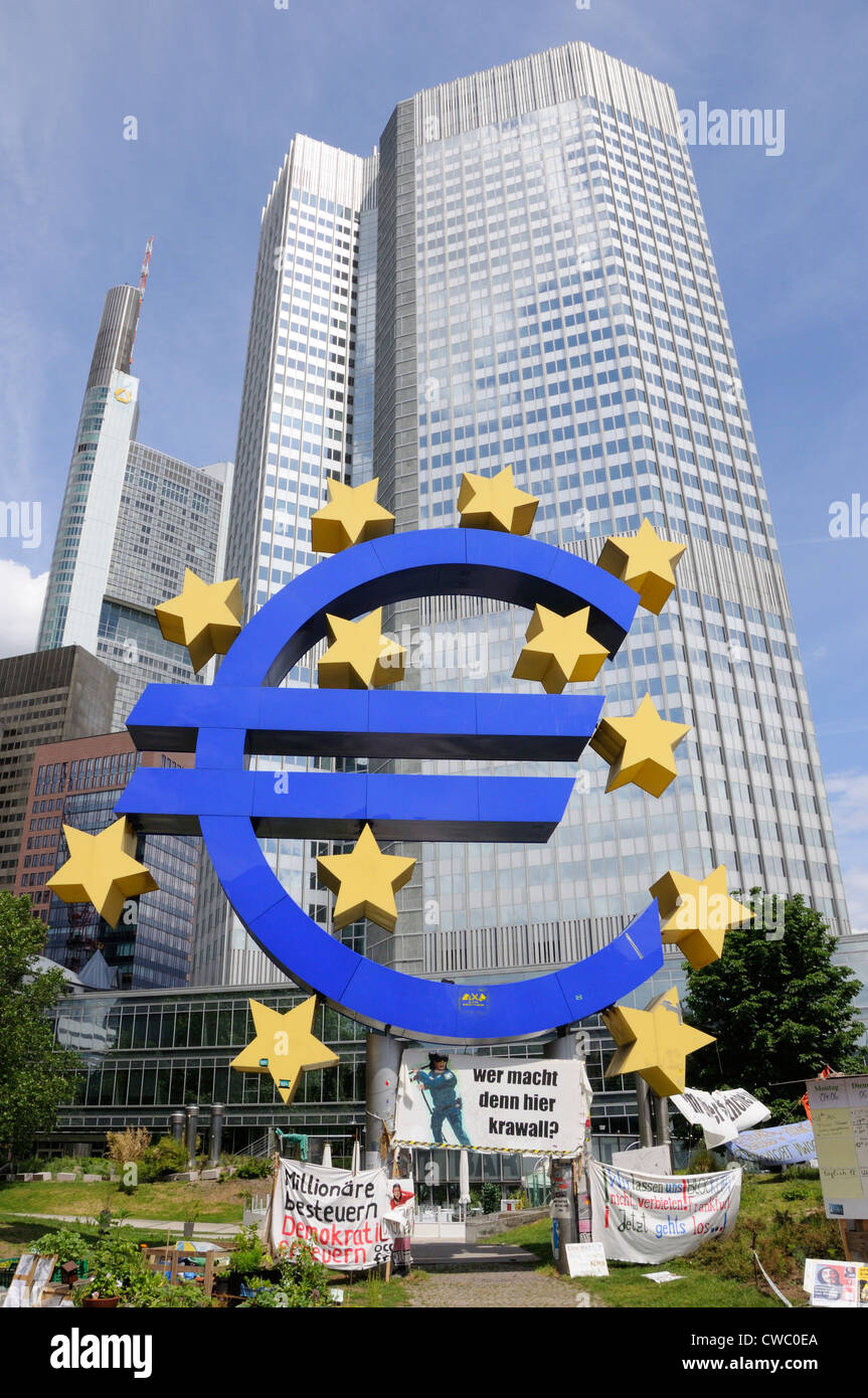 Occupy Frankfurt demonstration outside the European Central Bank, Germany. - Stock Image