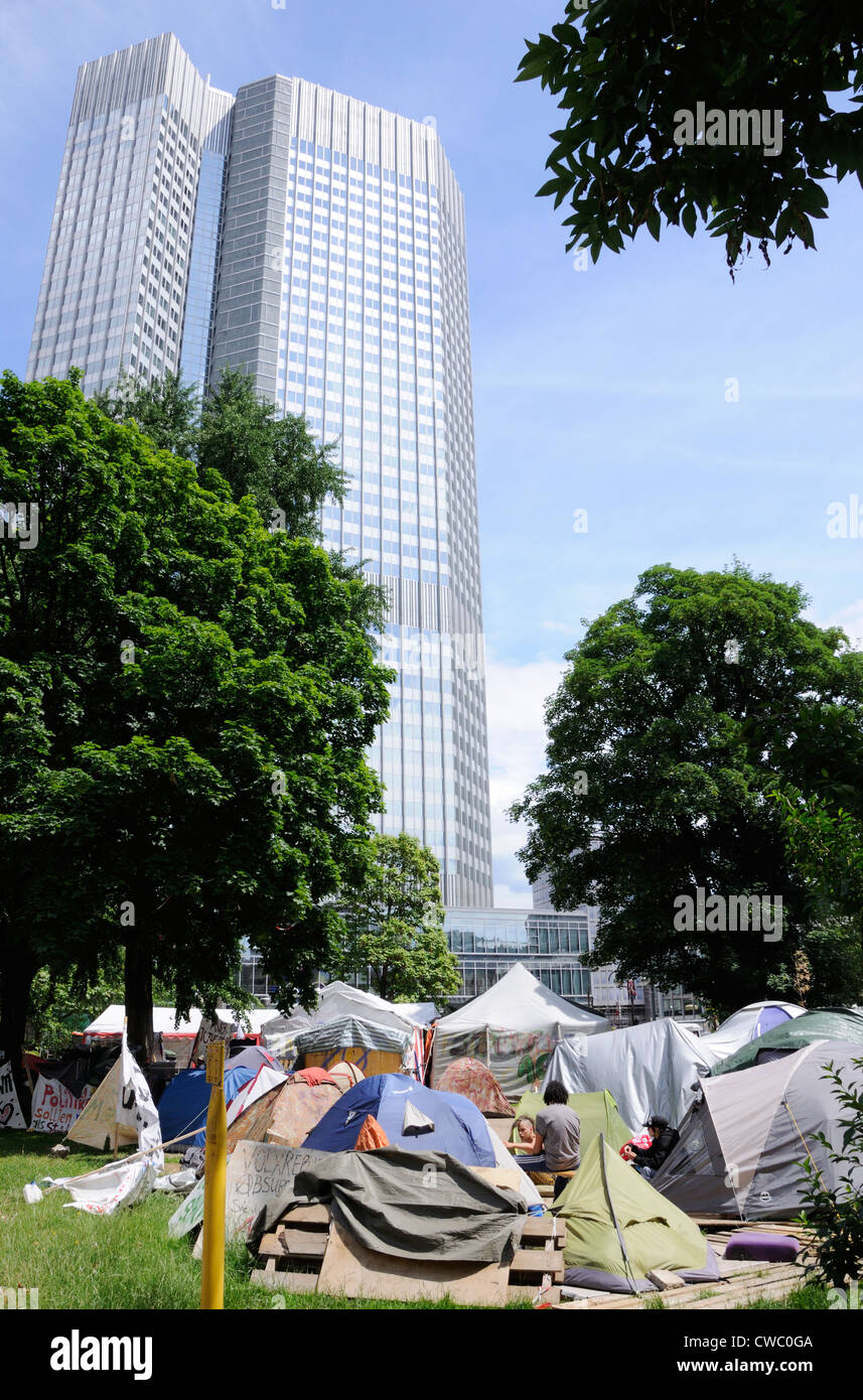 Occupy Frankfurt camped outside the European Central Bank, Germany. - Stock Image