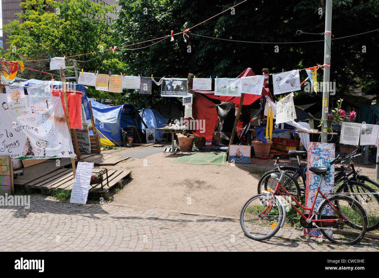 Occupy Frankfurt entrance outside the European Central Bank, Germany. - Stock Image