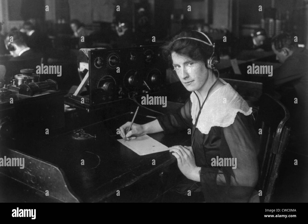 Helen Campbell, a wireless operator was recruited by the National League for Women's Service, a World War I - Stock Image