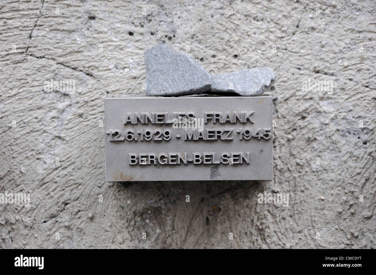 Memorial to Anne Frank who was born in Frankfurt, Germany in 1929 and died in Bergen-Belsen concentration camp in - Stock Image