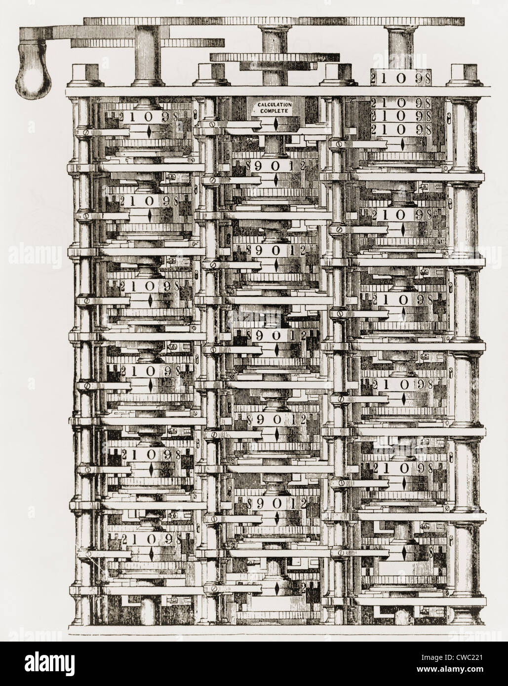 Small part of Babbage's mechanical calculating engine his Difference Engine an invention to which he dedicated - Stock Image