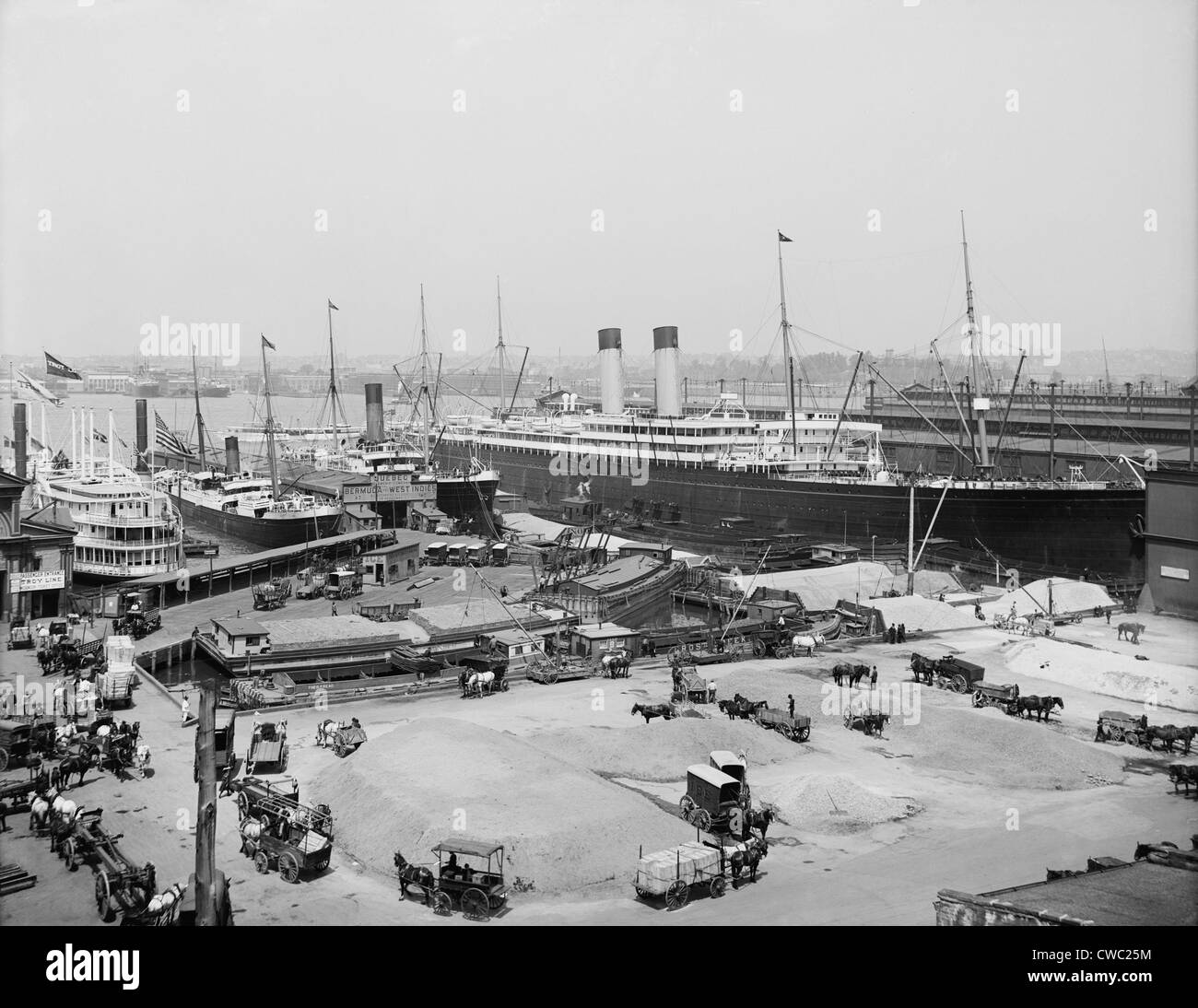 The Ocean Liner BALTIC moored at the White Star Line piers New York ca. 1905. LC-D4-10911 C - Stock Image