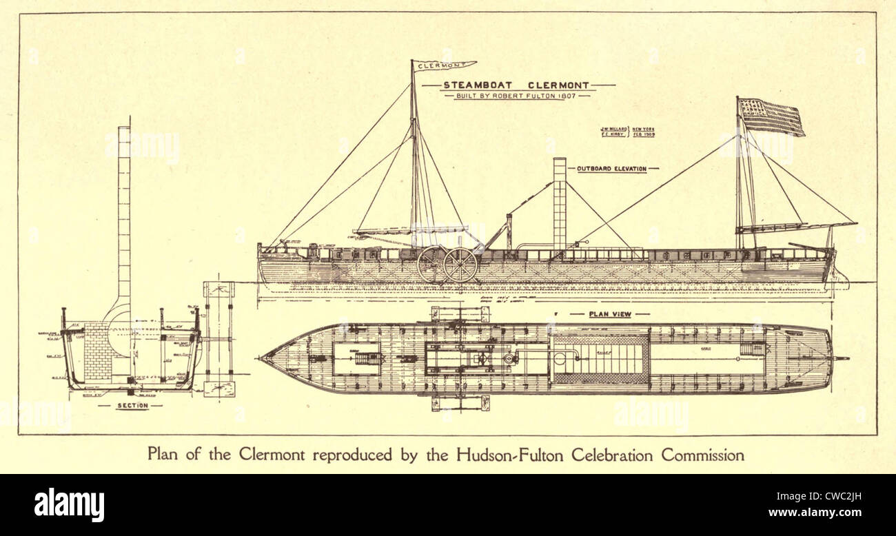 plan of robert fulton's first steamboat the clermont built in 1807   hudsonfultoncele00statuoft 0055