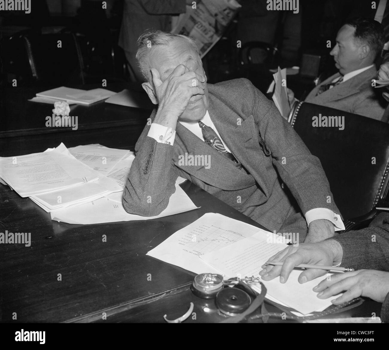 Alfred P. Sloan 1875-1966 chairman of General Motors covered his face with his hand during his testimony before - Stock Image