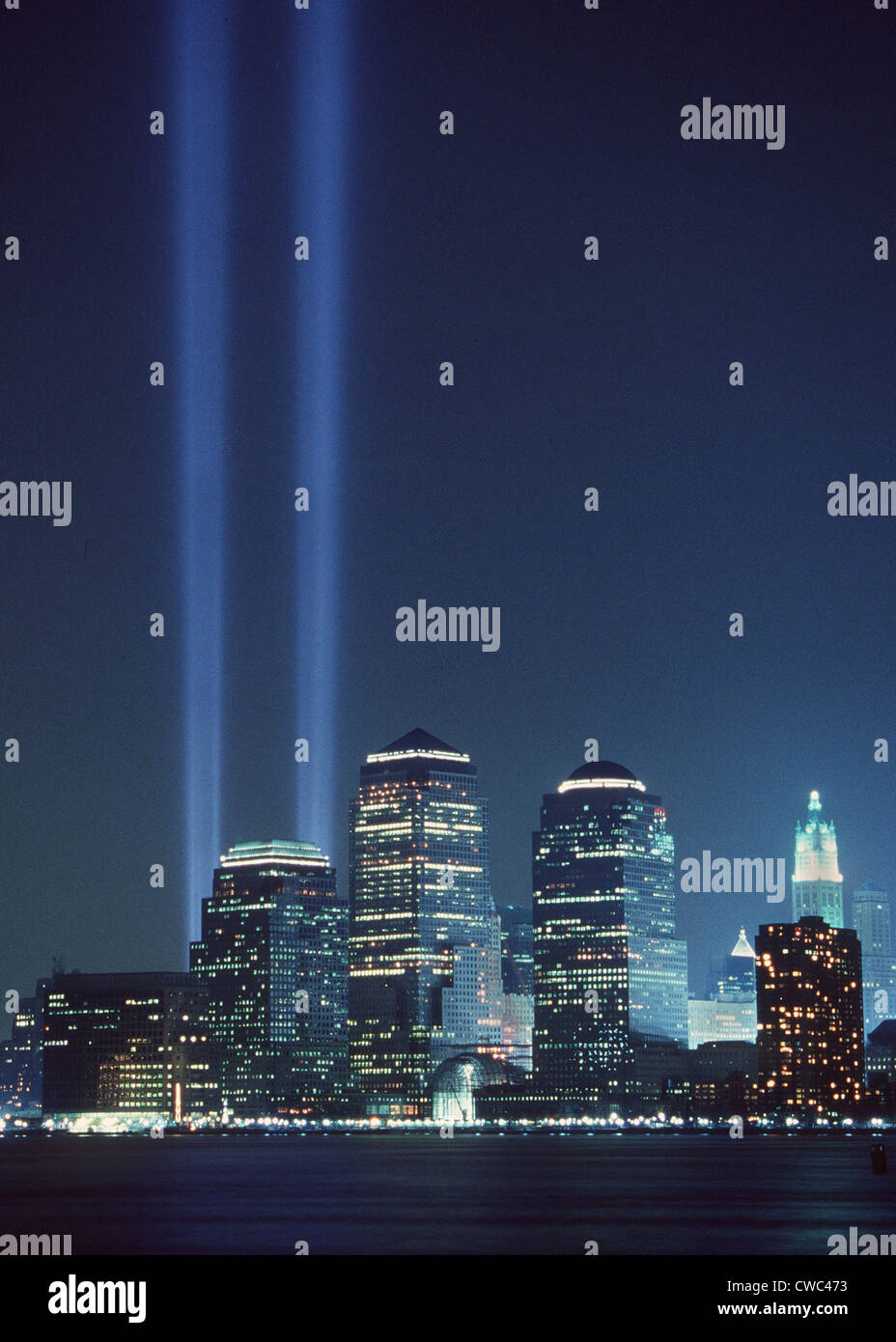 'Tribute of Light' represents the fallen twin towers of the World Trade Center on the first anniversary - Stock Image
