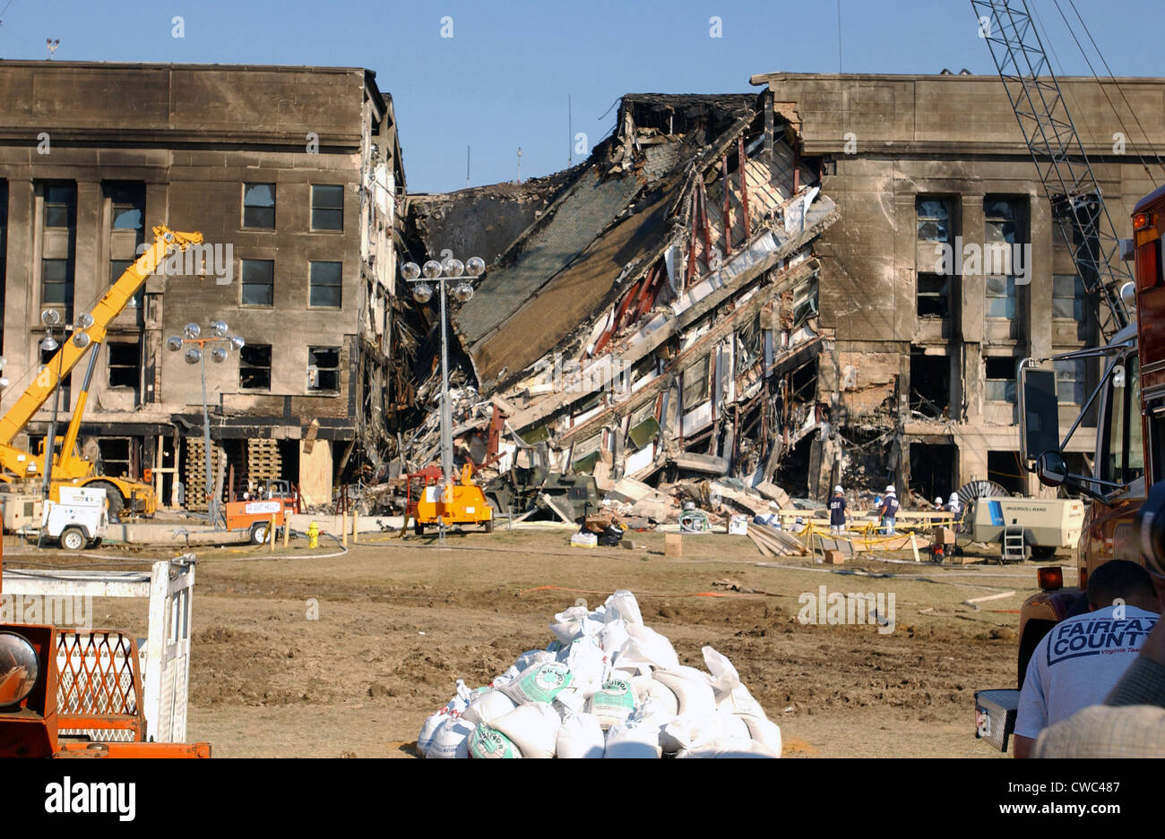 The Pentagon on Sept.13 2001 was damaged by two days earlier by the 9/11 crash of a hijacked jetliner crash by Al - Stock Image
