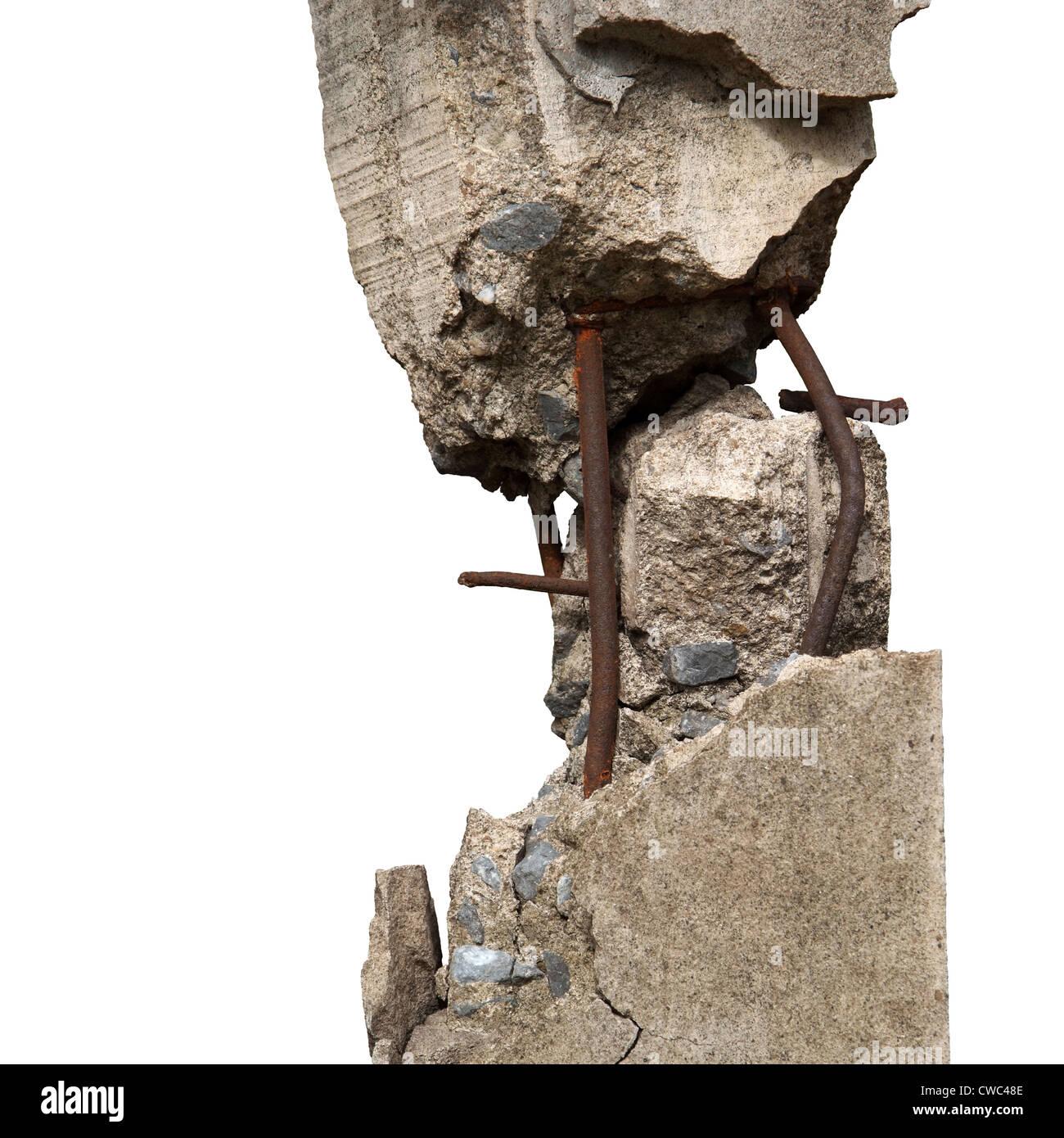 Broken concrete pillars and steel structures seen. - Stock Image