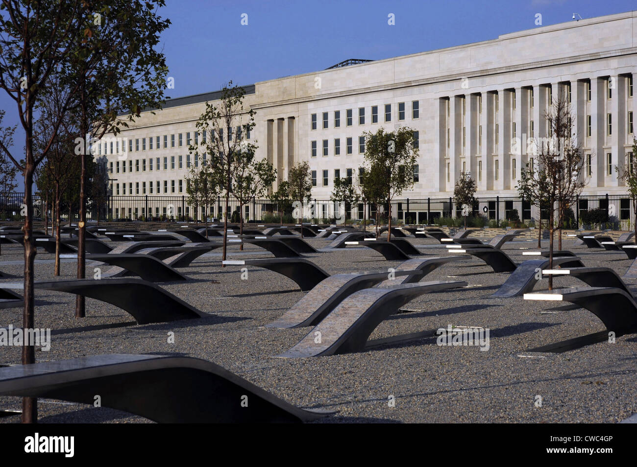 The Pentagon Memorial honoring the 184 people killed at the Pentagon and on American Airlines Flight 77 during the - Stock Image