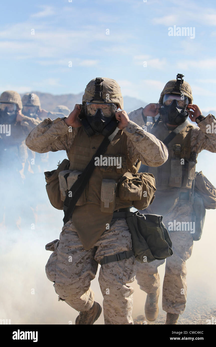 US Marines and sailors in full protective gear marching through the cloud of gas to test with their new gear. Jan Stock Photo