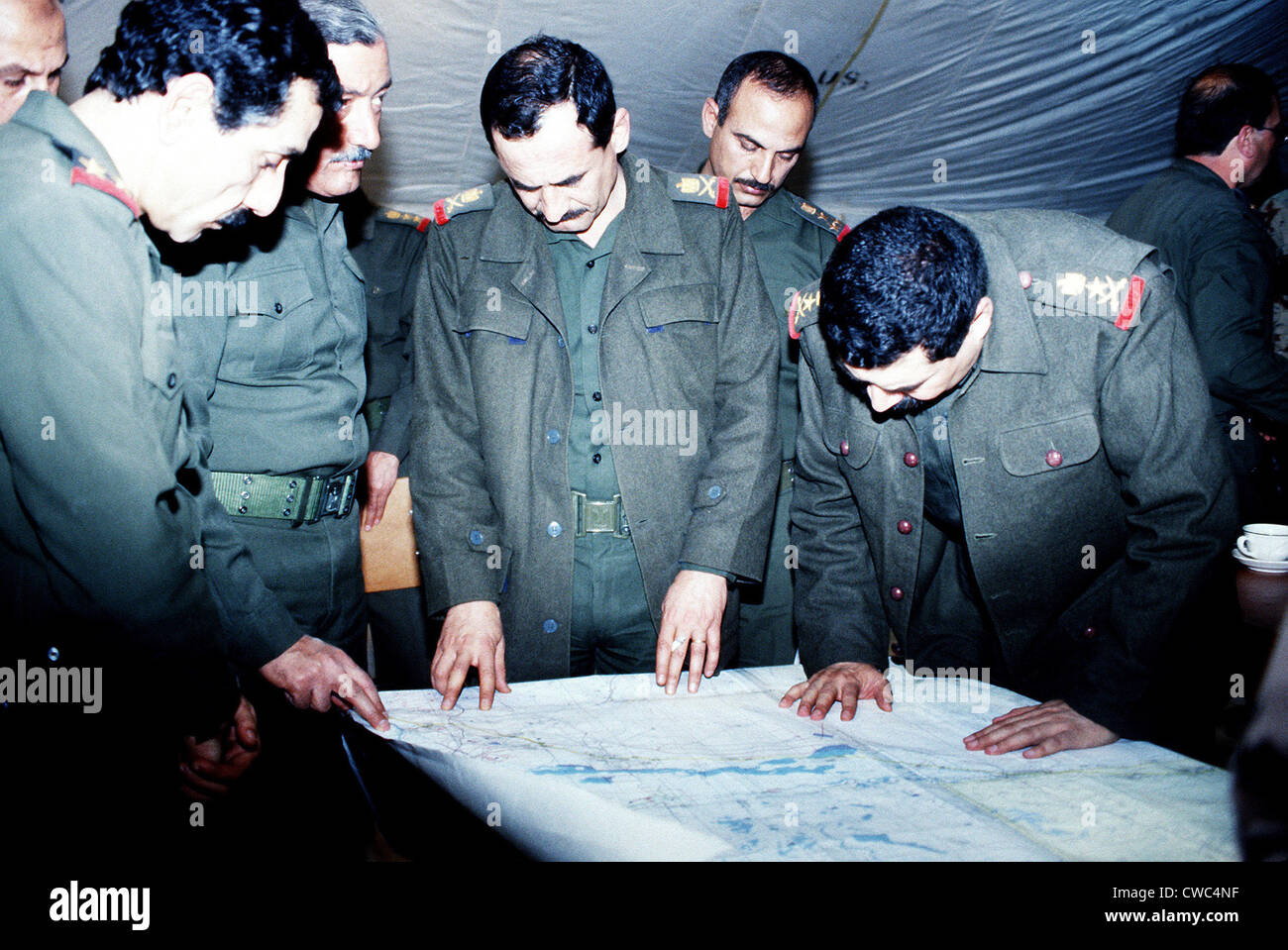 Defeated Iraqi officers reveal information about the location of mines ammunition storage areas and prisoners of - Stock Image