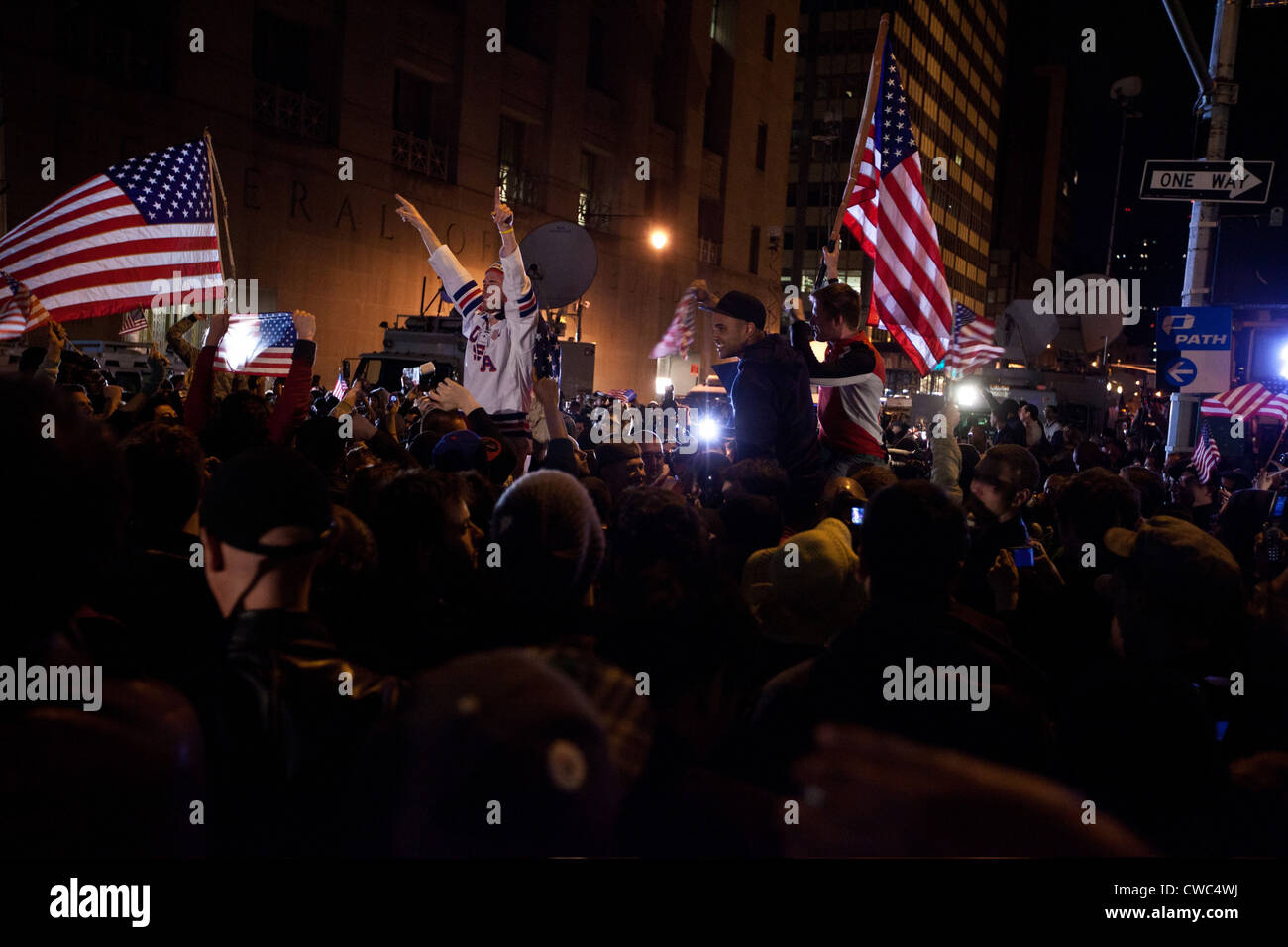 Spontaneous demonstration at the World Trade Center site after President Obama announced that US Navy Seals killed - Stock Image
