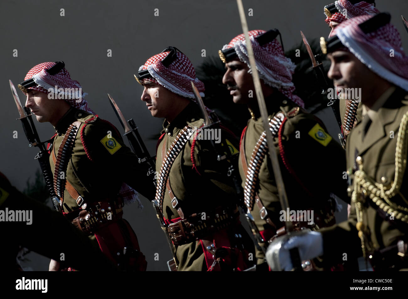 Jordanian Honor Guardsmen welcome Admiral Mike Mullen during an arrival ceremony in Amman Jordan Feb. 16 2010. Stock Photo