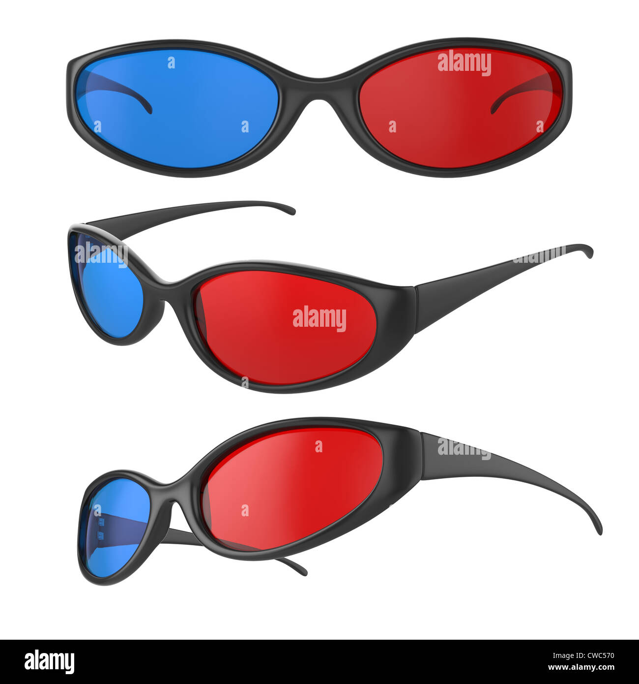 Illustration of different view 3d cinema glasses isolated on white - Stock Image
