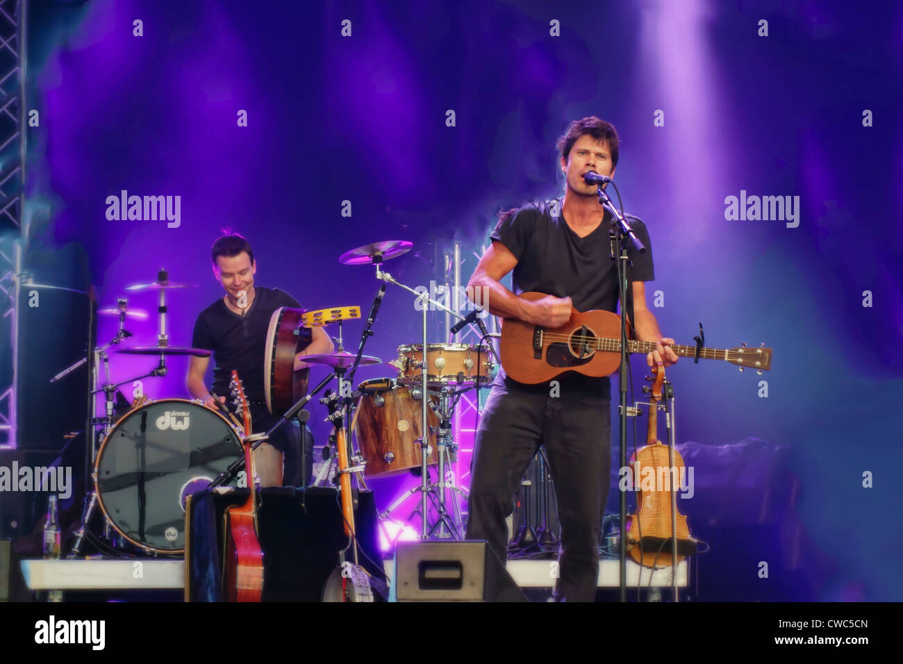 CAMBRIDGE UK, JULY 28 2012: Seth Lakeman contemporary folk artist performing at the Cambridge Folk Festival, UK - Stock Image