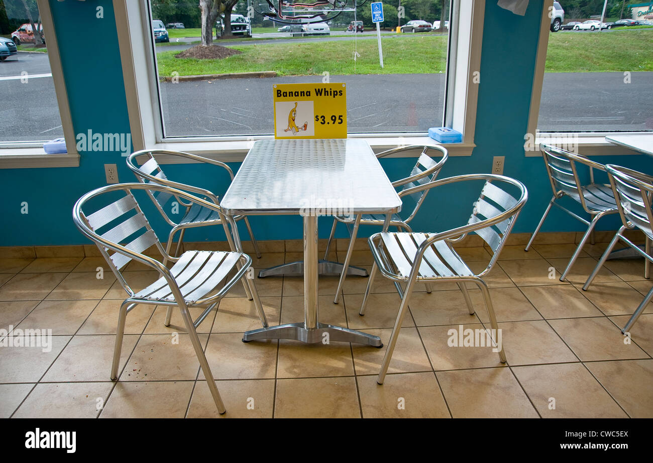 Inside Of Ice Cream U0026 Sandwich Shop Cafe   Stock Image