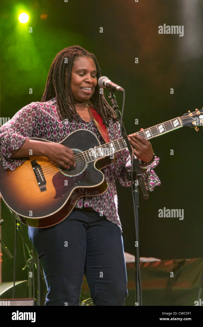 CAMBRIDGE UK JULY 28 2012: Ruthie Foster, Blues musician, performing at the Cambridge Folk Festival, UK - Stock Image