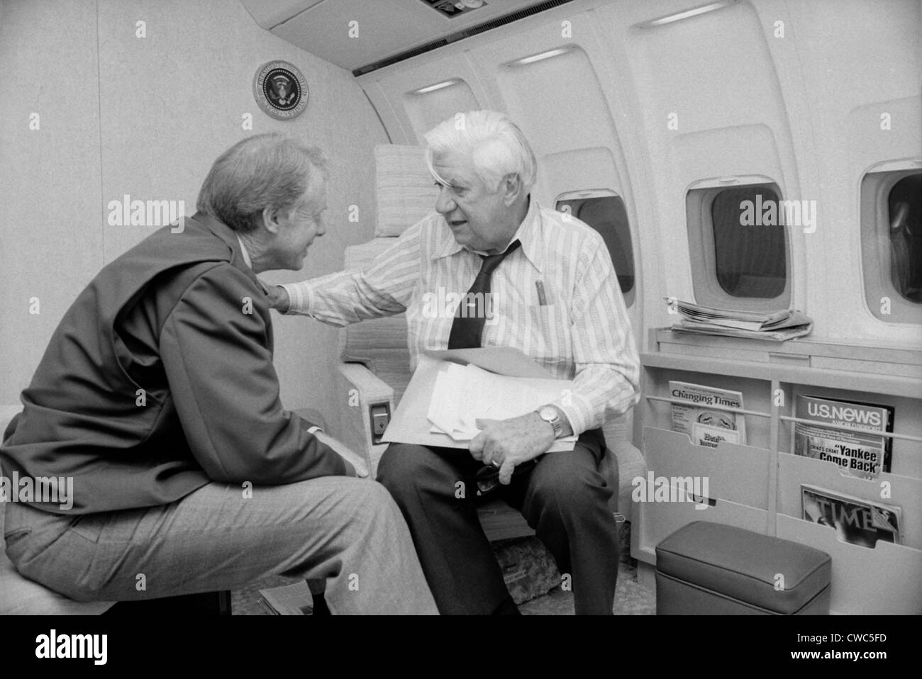 President Jimmy Carter talking with Speaker Thomas O'Neill 1912 1994 on Air Force One in 1978. O'Neill mentored - Stock Image