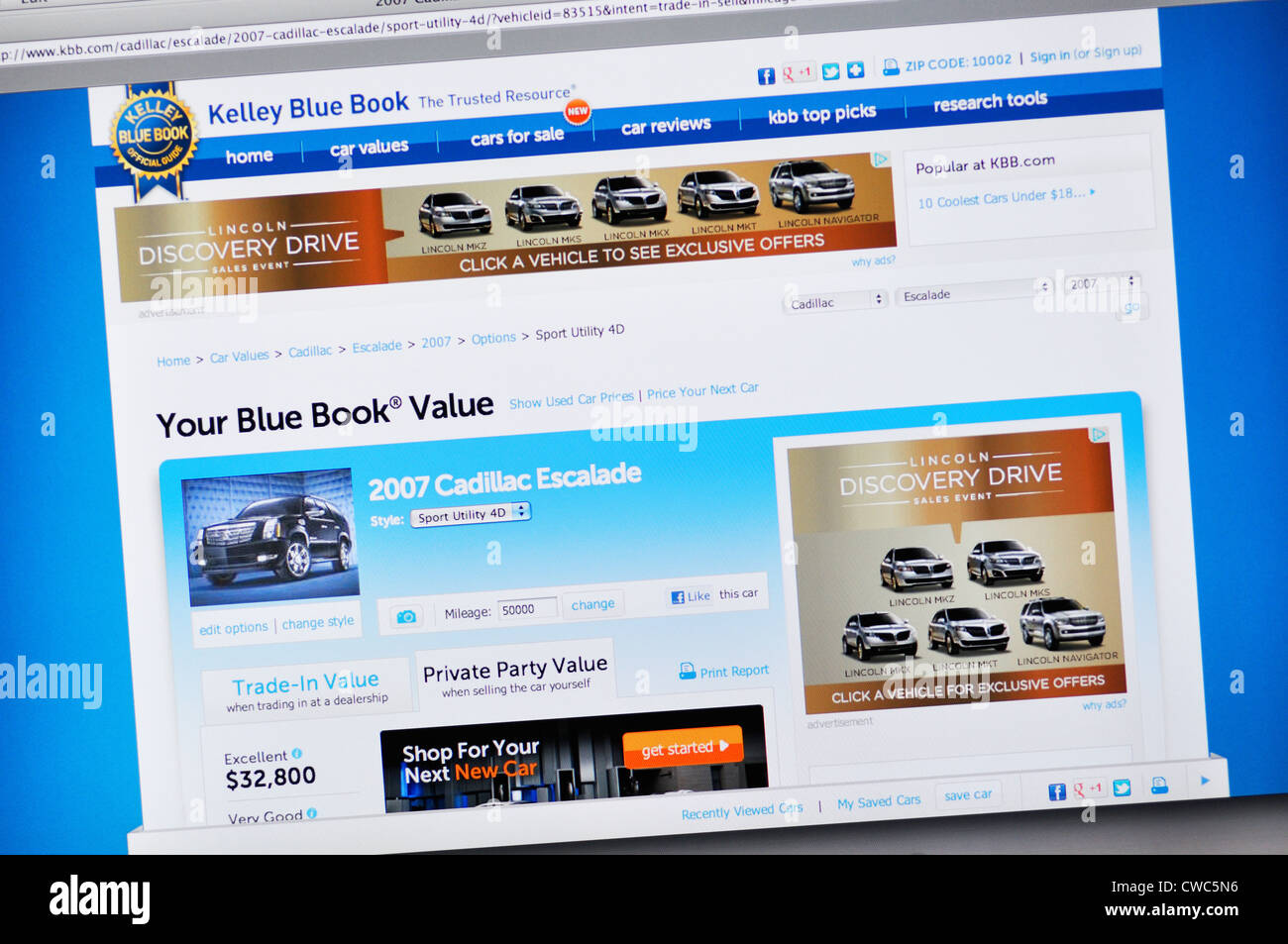 Kelly Blue Book Website Car Valuation Stock Photo 50055074 Alamy
