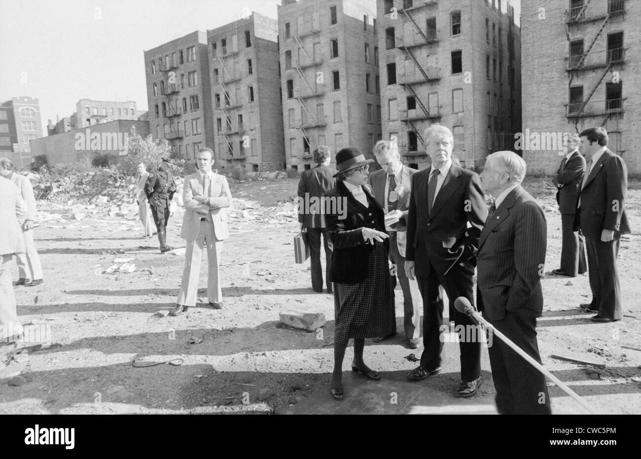 Secretary of Housing and Urban Development HUD Patricia Harris Jimmy Carter and New York City Mayor Abraham Beame Stock Photo