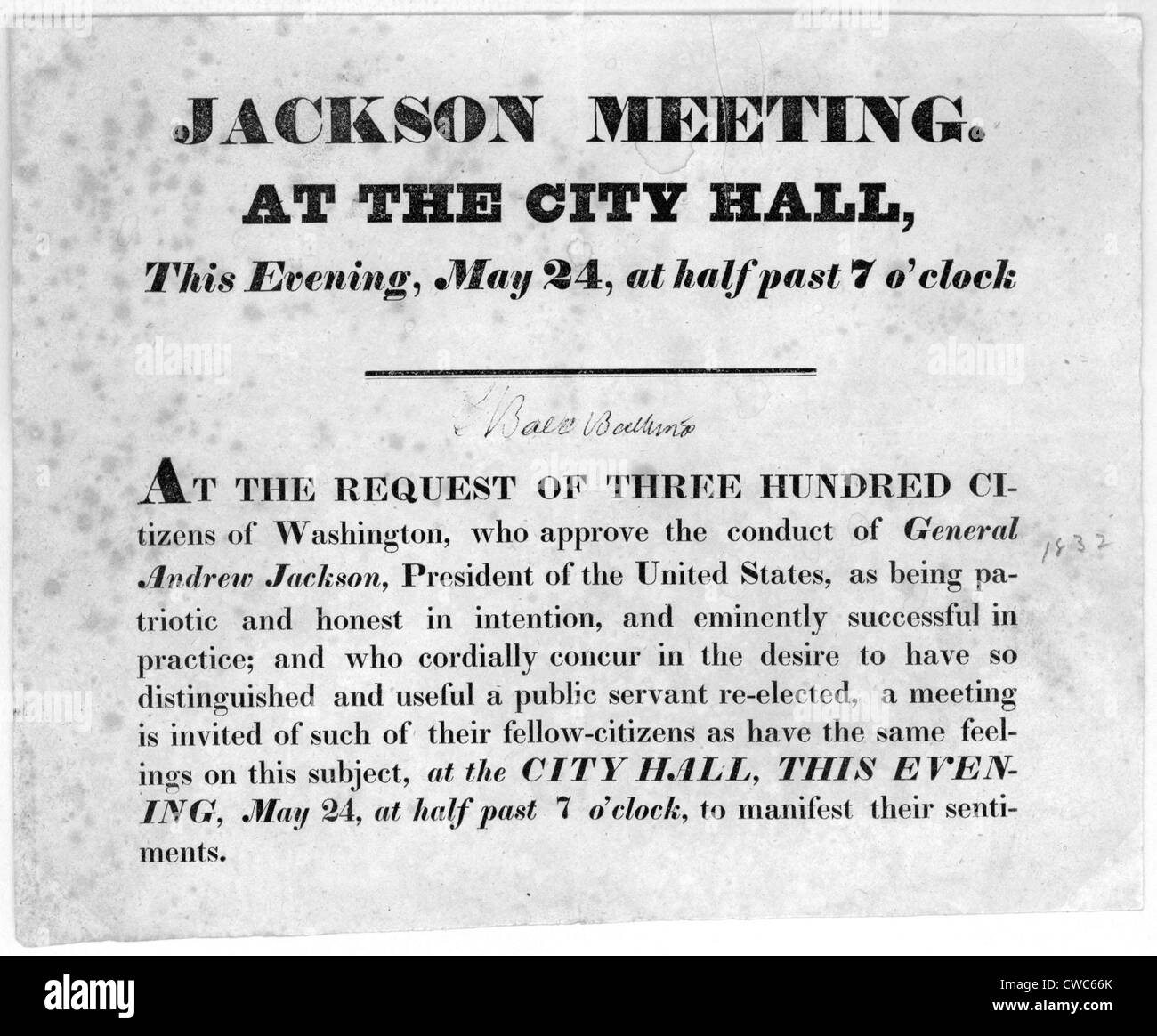 Bill announcing Andrew Jackson supporter's meeting, 1832 - Stock Image