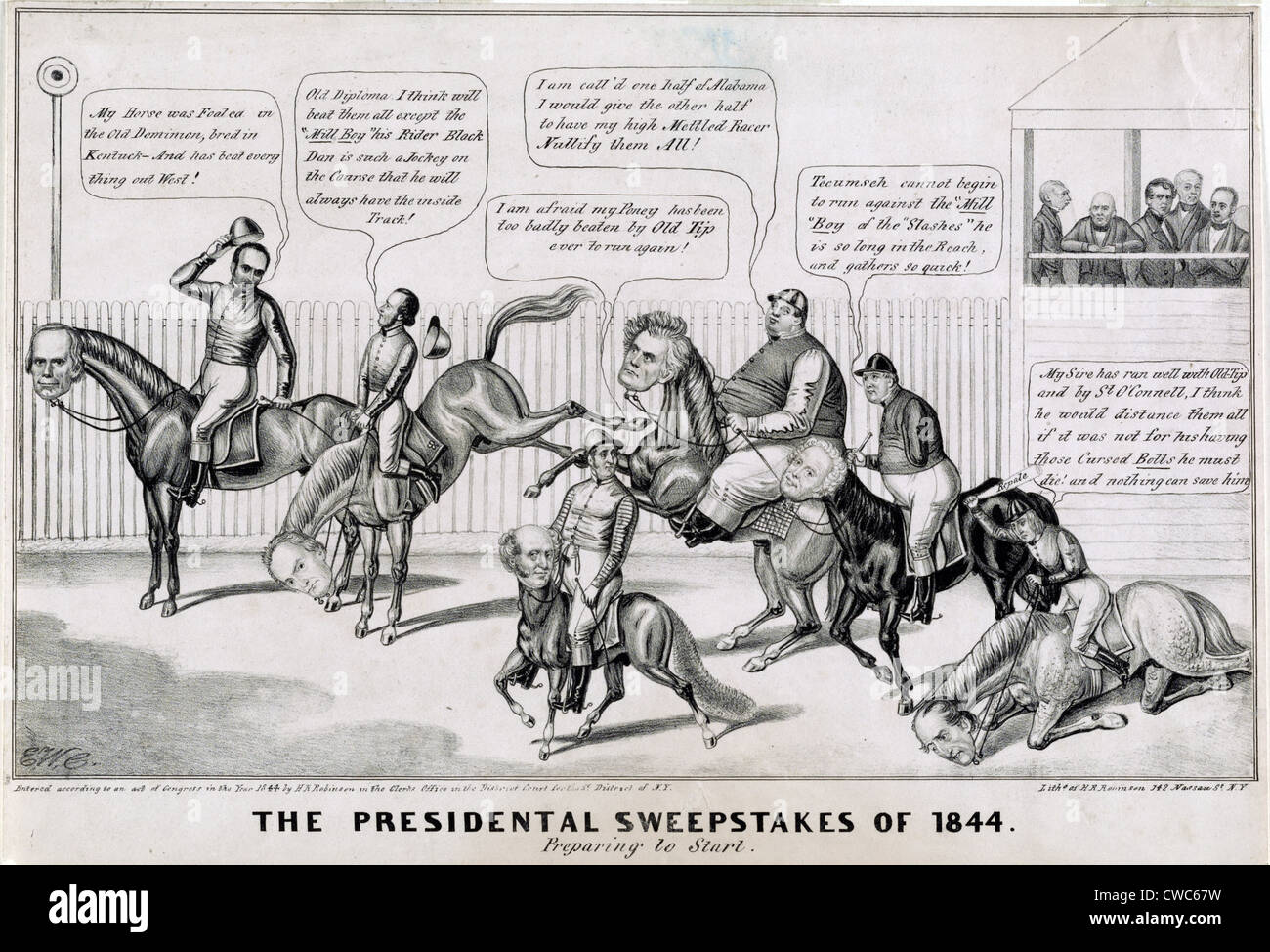 Political race course - political cartoon about the Presidential election of 1836 - Stock Image