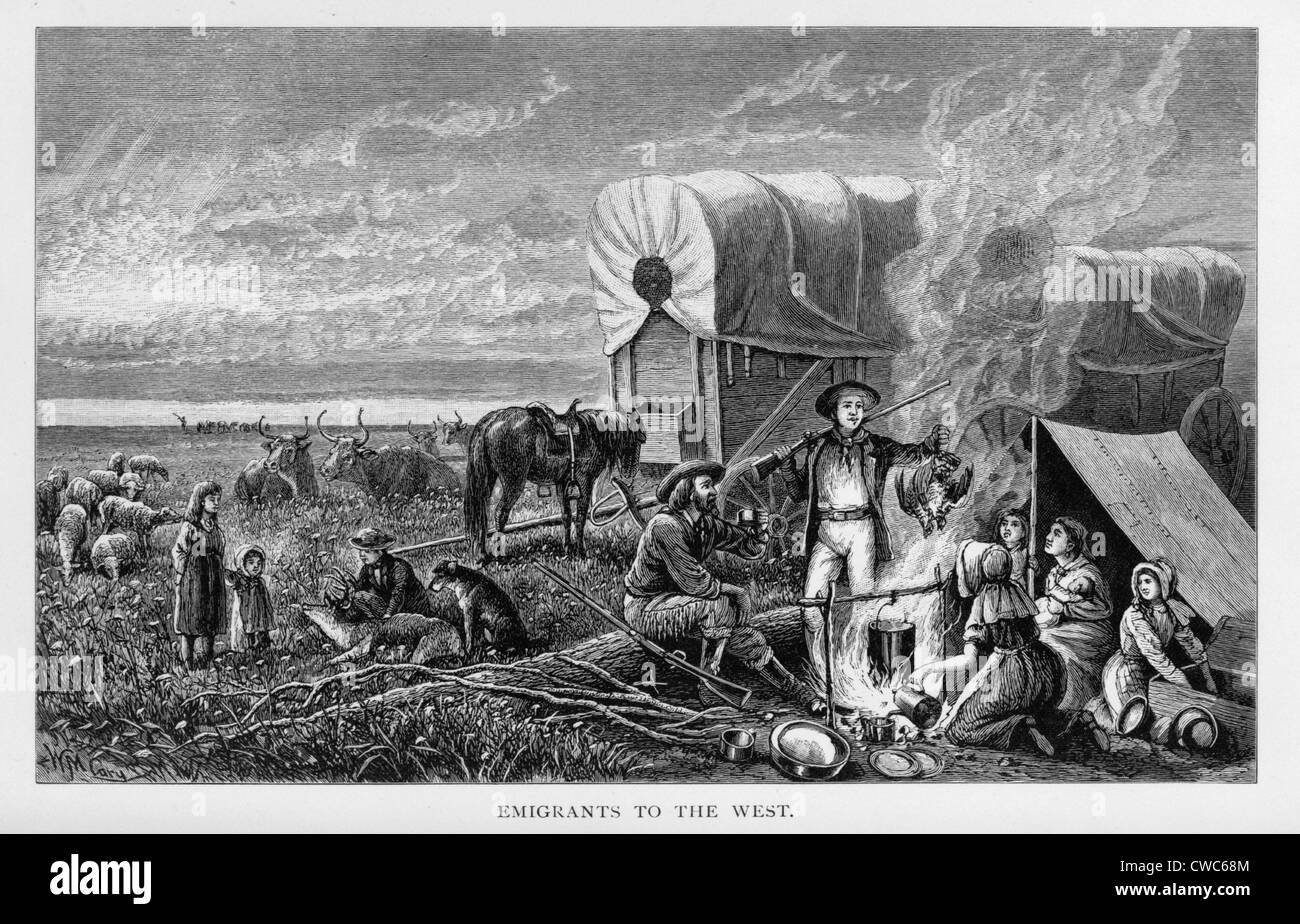 Emigrants to the West. Pioneers. 1830s - Stock Image