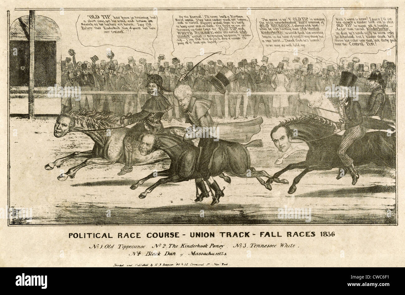 Election of 1836. Political cartoon of the 1836 presidential election as  race between four candidate horses jockeyed by their