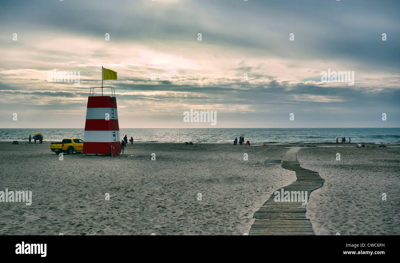 Lifeguard station on a Danish beach Stock Photo