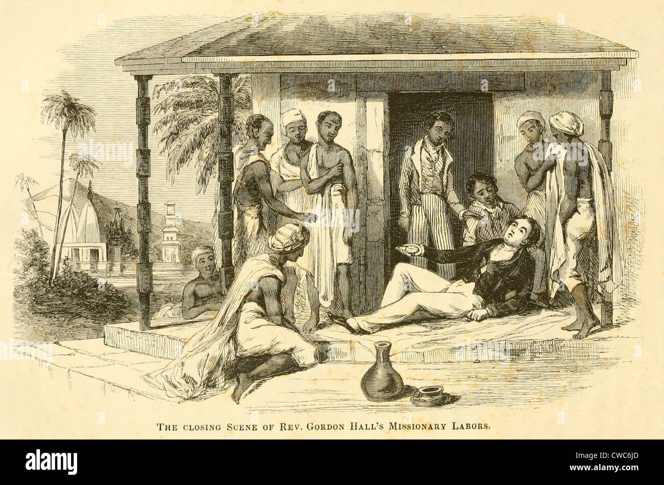 The death of American missionary Reverend Gordon Hall 1784-1826 of cholera  after a few hours' sickness in Bombay Mumbai where