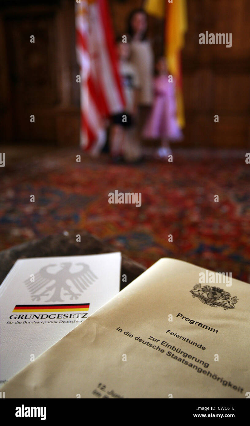 Programme for naturalization ceremony in the German Citizenship - Stock Image