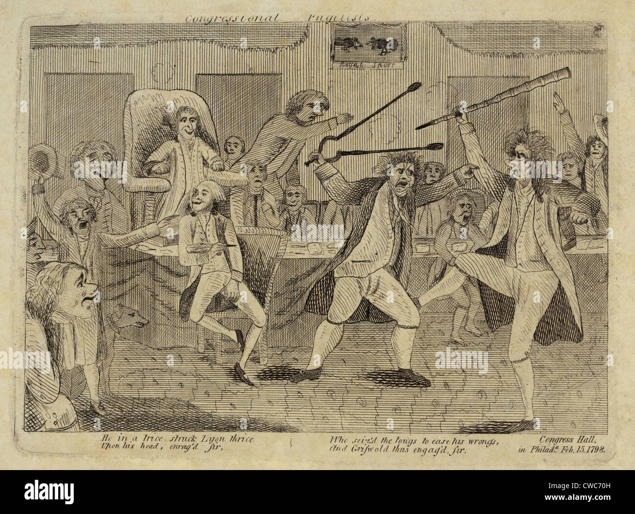 Brawl On The Floor Of The US House Of Representatives. Fight Between  Vermont Representative Matthew Lyon And Roger Griswold Of
