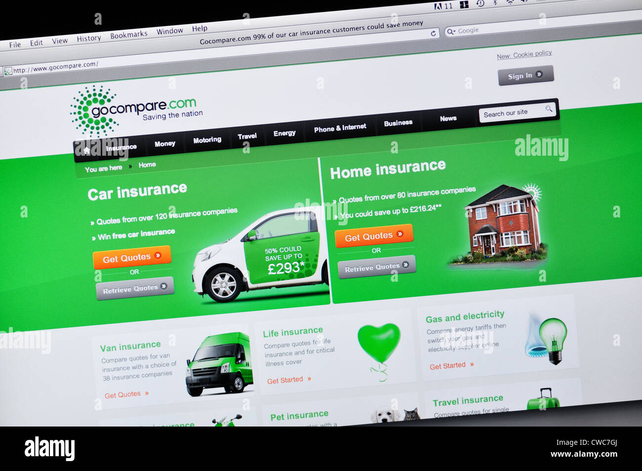 Gocompare Website Insurance Rates Comparison Stock Photo 50056514