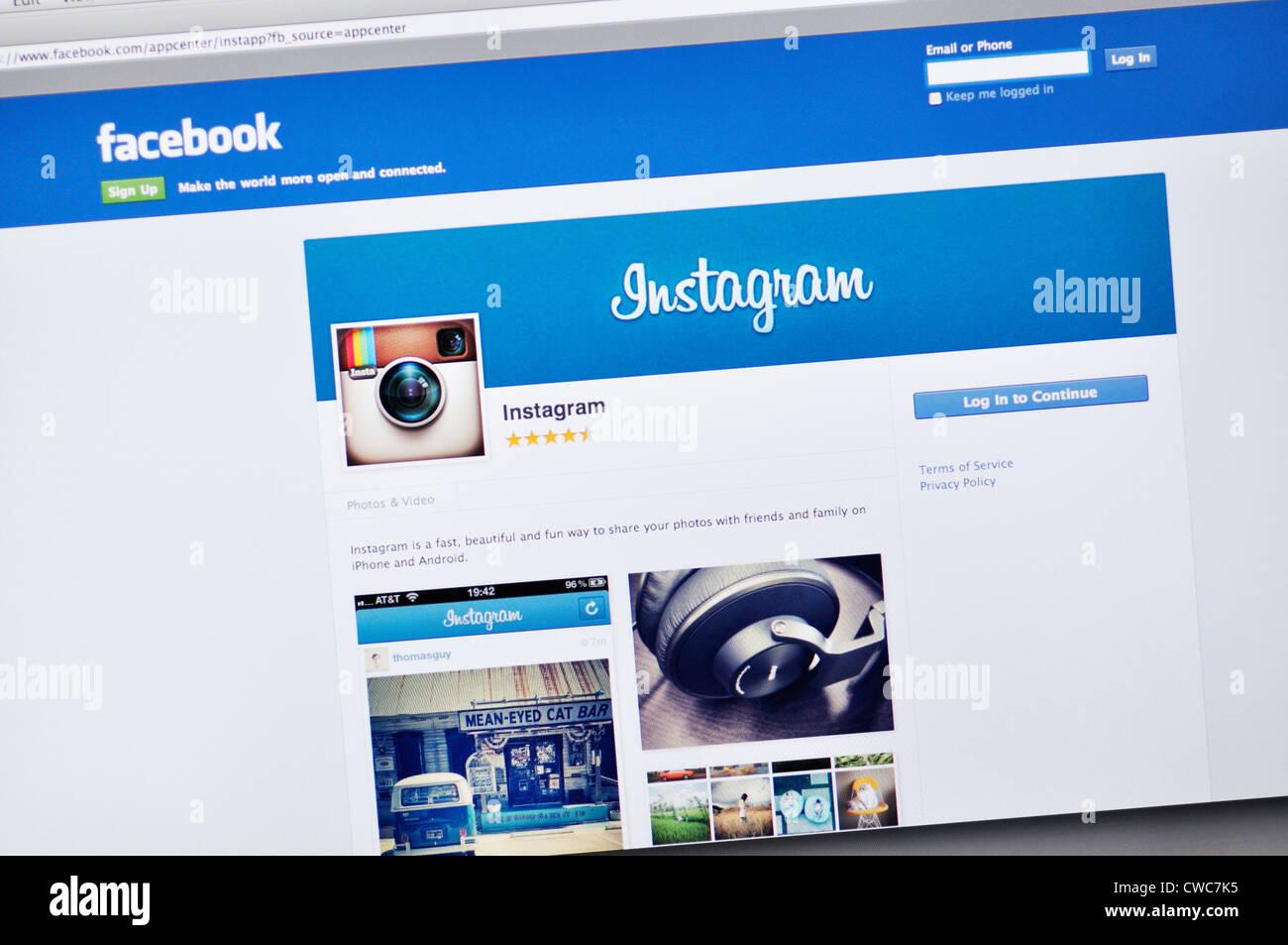 Facebook Instagram website - Stock Image