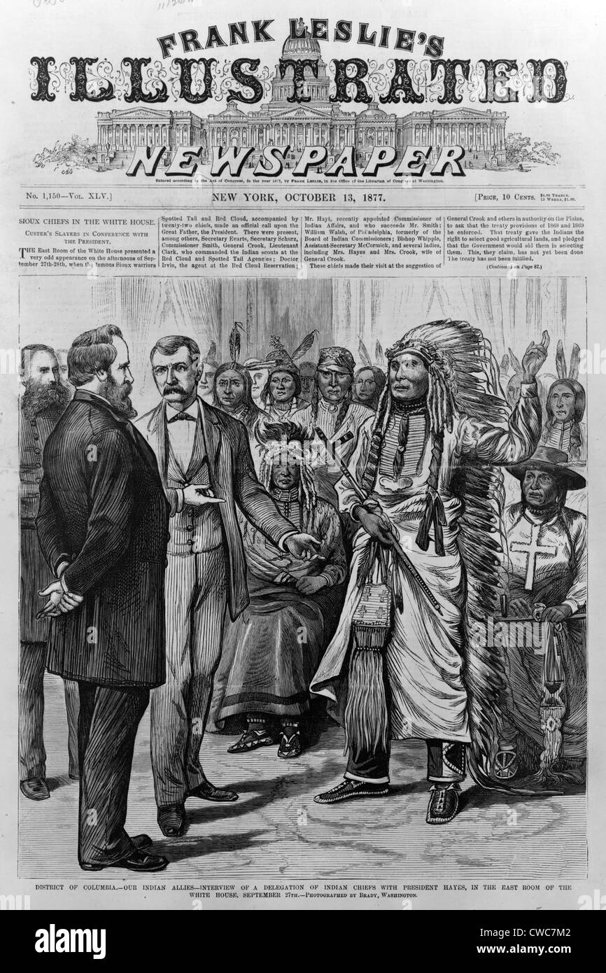 Rutherford Hayes receives an Indian delegation. The White House 1877 - Stock Image