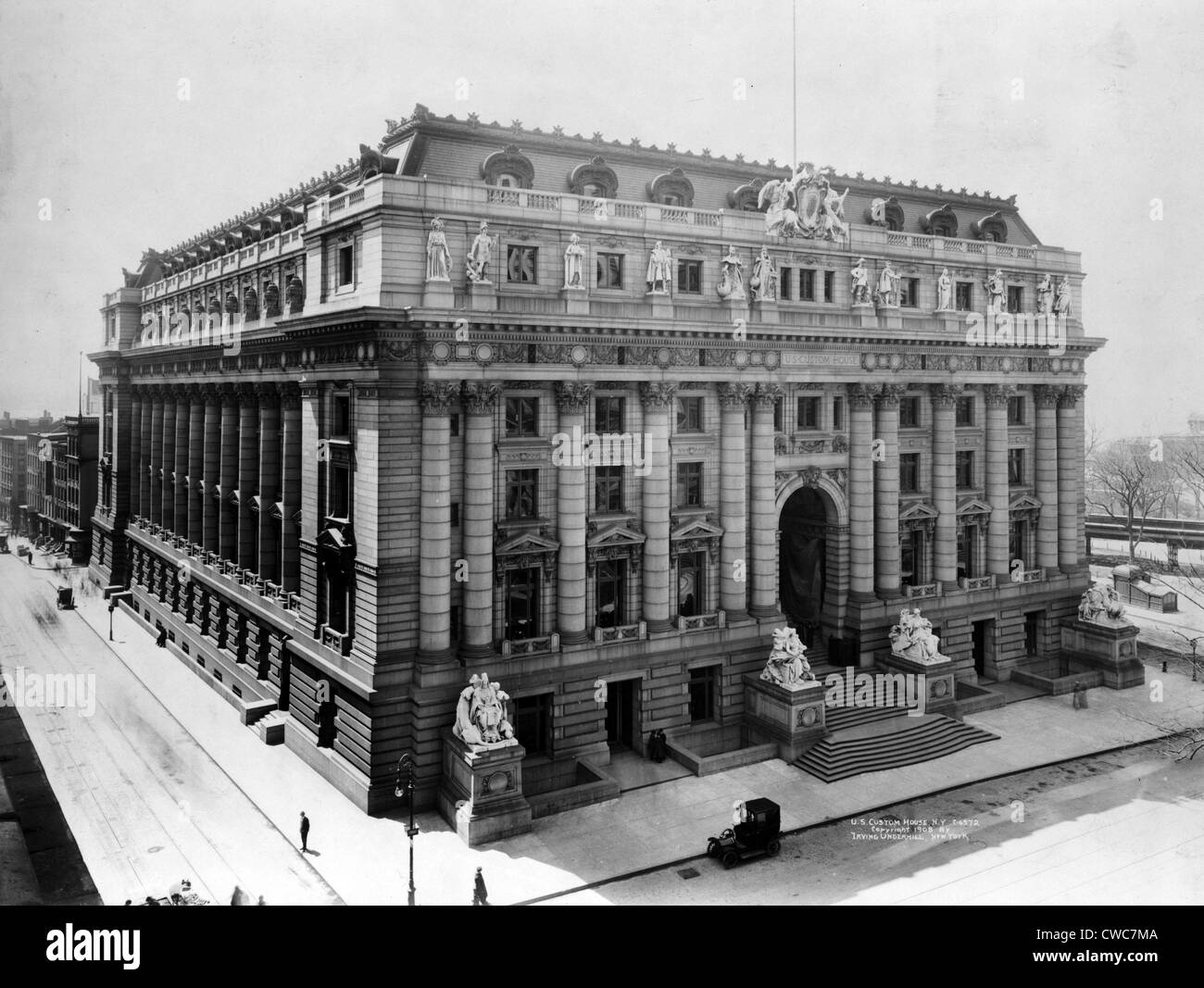 U. S. Custom House N.Y. 1908 - Stock Image
